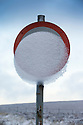 13/01/15<br /> <br /> Snow covers a road sign on the A537 near Buxton in the Derbyshire Peak District ahead of forecast further heavy snow showers across the country.<br /> <br /> <br /> All Rights Reserved - F Stop Press. www.fstoppress.com. Tel: +44 (0)1335 300098