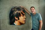 Robert Quinn with Paul McCartney head from Abbey Road billboard, Woodland Hills, CA Jan 2018