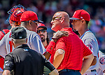 9 July 2017: Washington Nationals Manager Dusty Baker chats with Director of Athletic Training Paul Lessard to evaluate a possible injury to starting pitcher Joe Ross in the 4th inning against the Atlanta Braves at Nationals Park in Washington, DC. The Nationals defeated the Atlanta Braves to split their 4-game series going into the All-Star break. Mandatory Credit: Ed Wolfstein Photo *** RAW (NEF) Image File Available ***