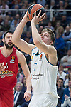 Real Madrid Luka Doncic and Olympiacos Piraeus Kostas Papanikolaou during Turkish Airlines Euroleague match between Real Madrid and Olympiacos Piraeus at Wizink Center in Madrid , Spain. February 09, 2018. (ALTERPHOTOS/Borja B.Hojas)