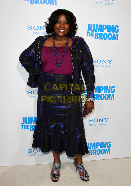 "LORETTA DEVINE.""Jumping The Broom"" Los Angeles Premiere Held At The Arclight Cinerama Dome Theatre, Hollywood, California, USA..May 4th, 2011.full length hand on hip pink purple top blue skirt jacket  necklace   .CAP/ADM/KB.©Kevan Brooks/AdMedia/Capital Pictures."