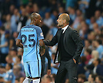 Fernandinho of Manchester City receives instructions from Josep Guardiola manager of Manchester City during the UEFA Champions League Group C match at The Etihad Stadium, Manchester. Picture date: September 14th, 2016. Pic Simon Bellis/Sportimage