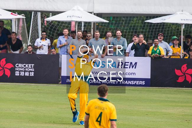 Captain John Hastings of Australia takes a catch during Day 1 of Hong Kong Cricket World Sixes 2017 Group B match between New Zealand Kiwis vs Australia at Kowloon Cricket Club on 28 October 2017, in Hong Kong, China. Photo by Vivek Prakash / Power Sport Images