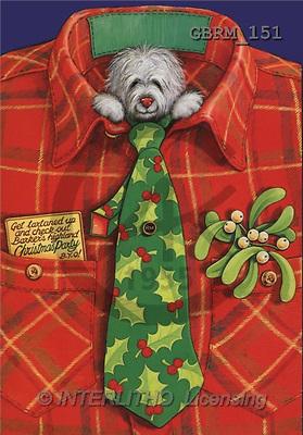 Roger, CHRISTMAS ANIMALS, paintings, barker's- Xmasgettartanedup1(GBRM151,#XA#) Weihnachten, Navidad, illustrations, pinturas