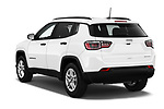 Car pictures of rear three quarter view of a 2018 Jeep Compass Sport 5 Door SUV angular rear
