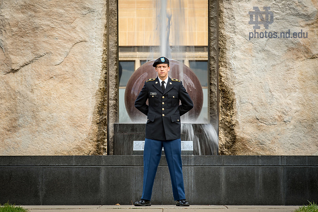 November 7, 2017; An Army ROTC stands vigil at the Clarke Memorial Fountain in honor of Veterans Day. (Photo by Matt Cashore/University of Notre Dame)