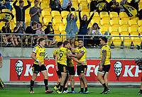 The Hurricanes celebrate Wes Goosen's first try during the Super Rugby match between the Hurricanes and Stormers at Westpac Stadium in Wellington, New Zealand on Saturday, 23 March 2019. Photo: Dave Lintott / lintottphoto.co.nz