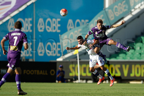 07.03.2016, Perth, Australia. Hyundai A-League, Perth Glory versus Newcastle Jets. Chris Harold gets airborne with a header against Newcastle's Nick Cowburn.