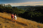 Sunset light and hikers on the Sonoma Overlook Trail, Sonoma County, California