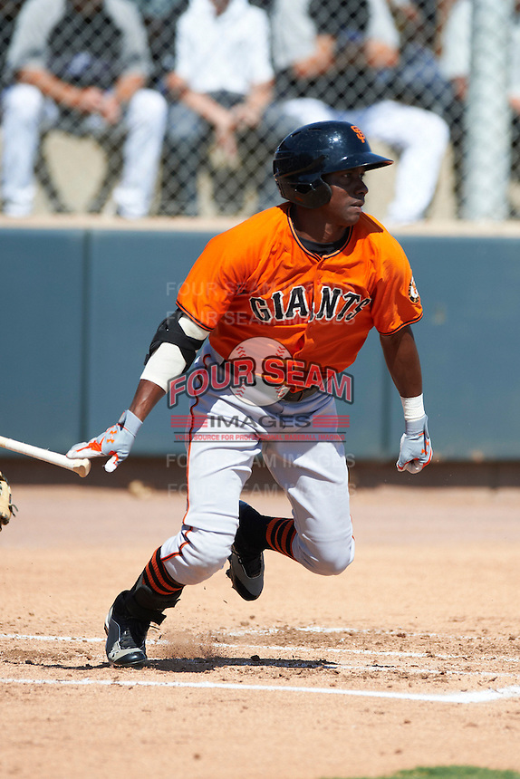 San Francisco Giants minor league outfielder Jesus Galindo #34 during an instructional league game against the Colorado Rockies at the Salt River Flats Complex on October 4, 2012 in Scottsdale, Arizona.  (Mike Janes/Four Seam Images)
