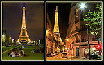 France, Paris.  <br /> Eiffel Tower at night.  Add a bright foreground to you night photos. John teaches low-light and night photography workshops.