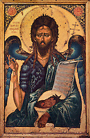 Icon of St John the Precursor or St John the Baptist, by Onufri, 16th century, tempera on wood, housed in the National Onufri Museum in the Cathedral of the Virgin Mary inside Berat Castle or Kalaja e Beratit, in Berat, South-Central Albania, capital of the District of Berat and the County of Berat. The cathedral was built in 1797 on the foundations of an older church and its museum is named after Onufri or Onouphrios of Neokastro, Albania's famous 16th century icon painter. The museum comprises the main nave, the altar area, and several rooms in the North and West of the church. Picture by Manuel Cohen