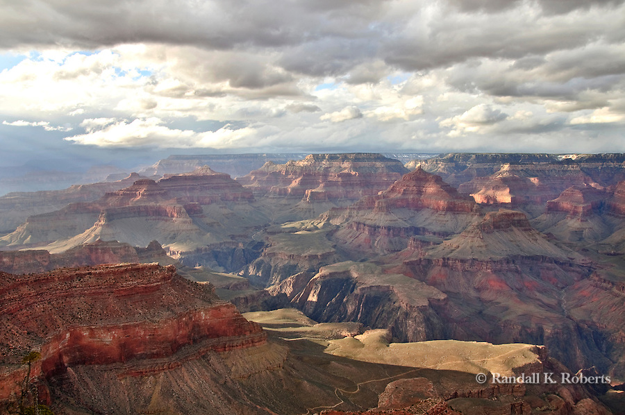 Stormy sunset light on Grand Canyon from Yavapai Point, Arizona
