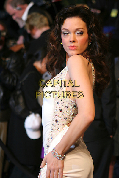 ROSE McGOWAN.At the 2007 Vanity Fair Oscar Party held at Morton's, West Hollywood, CA, USA,.February 25th 2007..half length  white dress .CAP/LNC/RIC.©LNC/Capital Pictures.