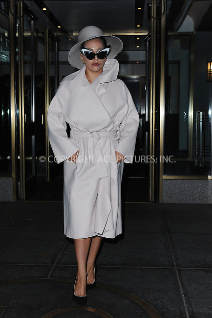 WWW.ACEPIXS.COM<br /> December 1, 2014 New York City<br /> <br /> Lady Gaga leaving her apartment in New York City on December 1, 2014.<br /> <br /> By Line: Kristin Callahan/ACE Pictures<br /> ACE Pictures, Inc.<br /> tel: 646 769 0430<br /> Email: info@acepixs.com<br /> www.acepixs.com