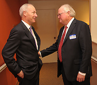 NWA Democrat-Gazette/ANDY SHUPE<br /> Gov. Asa Hutchinson (left) speaks Thursday, Oct. 29, 2015, with Jim Rollins, superintendent of Springdale Public Schools, before the start of the Springdale Public Schools Education Foundation Cornerstone Society induction ceremony at the Arts Center of the Ozarks in Springdale. Hutchinson was honored during the ceremony as a member of the Class of 1968. Visit nwadg.com/photos to see more photographs from the evening.