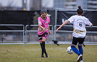 Madison (Alien Uncovered) clears the ball during the SOCCER SIX Celebrity Football Event at the Queen Elizabeth Olympic Park, London, England on 26 March 2016. Photo by Andy Rowland.