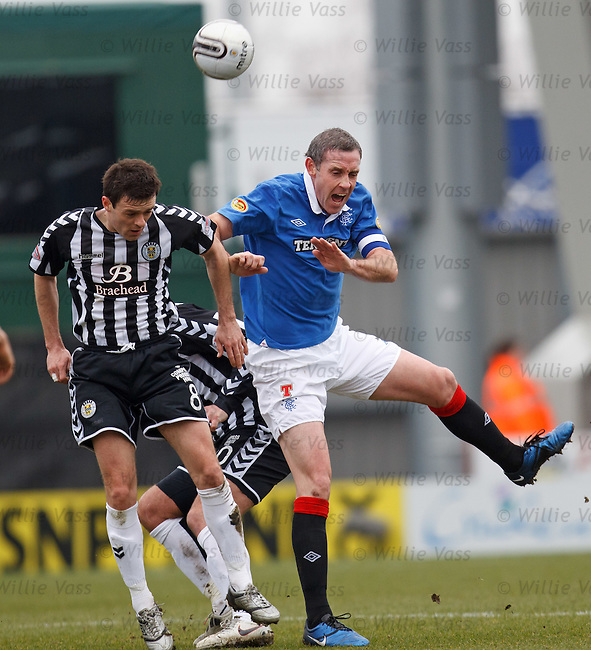 David Weir gets in first to head away from Steven Thomson