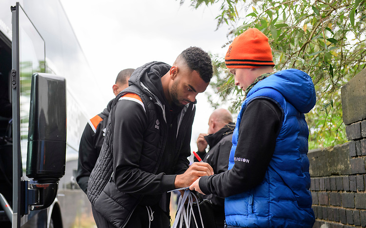 Blackpool's Curtis Tilt signs an autograph for a fan after arriving at the ground<br /> <br /> Photographer Chris Vaughan/CameraSport<br /> <br /> The EFL Sky Bet League One - Coventry City v Blackpool - Saturday 7th September 2019 - St Andrew's - Birmingham<br /> <br /> World Copyright © 2019 CameraSport. All rights reserved. 43 Linden Ave. Countesthorpe. Leicester. England. LE8 5PG - Tel: +44 (0) 116 277 4147 - admin@camerasport.com - www.camerasport.com
