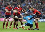 Greg Laidlaw of Scotland is stopped by Simone Favaro of Italy despite having three players to offload to - RBS 6Nations 2015 - Scotland  vs Italy - BT Murrayfield Stadium - Edinburgh - Scotland - 28th February 2015 - Picture Simon Bellis/Sportimage