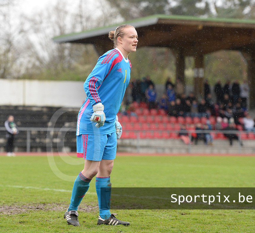 20150404 - FORST , GERMANY  : Belgian goalkeeper Jana Vanhauwaert pictured during the soccer match between Women Under 19 teams of Belgium and Ukraine , on the first matchday in group 5 of the UEFA Elite Round Women Under 19 at WaldseeStadion , Forst , Germany . Saturday 4th April 2015 . PHOTO DAVID CATRY