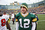 Green Bay Packers quarterback Aaron Rodgers (12) after a Week 11 NFL football game against the Tampa Bay Buccaneers on November 20, 2011 in Green Bay, Wisconsin. The Packers won 35-26. (AP Photo/David Stluka)