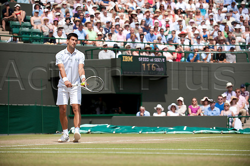 June 30th 2010: Wimbledon International Tennis Tournament held at the All England Lawn Tennis Club, London, England, Novak Djokovic playing Yen-Hsun Lu of TPE I in the mens singles quarter finals
