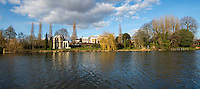 BNPS.co.uk (01202 558833)<br /> Pic: PhilYeomans/BNPS<br /> <br /> Famous actor David Garrick's 'Temple' near Hampton Court today, with his impressive mansion behind..<br /> <br /> 'Old man river, he just keeps rollin' - A remarkable collection of panoramic photographs of the Thames taken 160 years ago have emerged for auction, and they reveal how little the famous old river has changed in the last century and a half.<br /> <br /> They follow the river from London to Oxford in 40 photographs providing a fascinating insight into how the famous river looked in the mid-19th century.<br /> <br /> Londoner Victor Prout started photographing the Thames in 1857 using a camera which would produce wide-vision images because of a lens that swung round and 'scanned' sections of the picture.<br /> <br /> This rare complete copy of the first edition of Prout's pioneering panoramics has emerged for auction and is tipped to sell for &pound;12,000 when they go under the hammer at Bonhams on March 1.