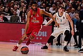 9th February 2018, Wiznik Centre, Madrid, Spain; Euroleague Basketball, Real Madrid versus Olympiacos Piraeus; Hollis Thompson (OLYMPIACOS BC) breaks away from the defence of Luka Doncic (Real Madrid Baloncesto)