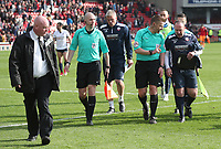 Todays Match Officials leave the pitch at the end of todays match with Bolton Wanderers Coaches <br /> <br /> Photographer Rachel Holborn/CameraSport<br /> <br /> The EFL Sky Bet Championship - Barnsley v Bolton Wanderers - Saturday 14th April 2018 - Oakwell - Barnsley<br /> <br /> World Copyright &copy; 2018 CameraSport. All rights reserved. 43 Linden Ave. Countesthorpe. Leicester. England. LE8 5PG - Tel: +44 (0) 116 277 4147 - admin@camerasport.com - www.camerasport.com