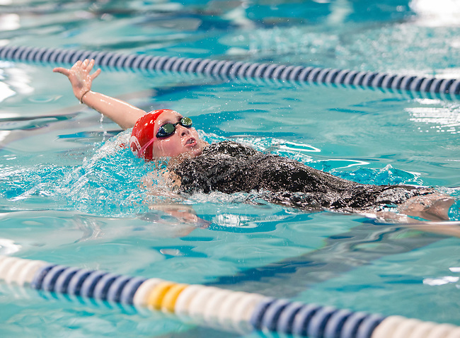 Truckee's Anna Kates competes in the girls 3A 100 yard backstroke race during the State Swimming Meet in Carson City on Saturday, May 20, 2017.