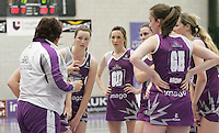 04 MAY 2007 - LOUGHBOROUGH, UK - Lightning development squad head coach Bev Burnham passes out instructions during a break - Loughborough Lightning (Purple) v Northern Thunder (Yellow). (PHOTO (C) NIGEL FARROW)