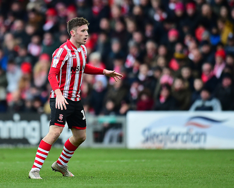 Lincoln City's Shay McCartan<br /> <br /> Photographer Andrew Vaughan/CameraSport<br /> <br /> The EFL Sky Bet League Two - Lincoln City v Grimsby Town - Saturday 19 January 2019 - Sincil Bank - Lincoln<br /> <br /> World Copyright &copy; 2019 CameraSport. All rights reserved. 43 Linden Ave. Countesthorpe. Leicester. England. LE8 5PG - Tel: +44 (0) 116 277 4147 - admin@camerasport.com - www.camerasport.com