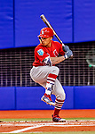 26 March 2018: St. Louis Cardinals second baseman Kolten Wong, at bat during an exhibition game against the Toronto Blue Jays at Olympic Stadium in Montreal, Quebec, Canada. The Cardinals defeated the Blue Jays 5-3 in the first of two MLB pre-season games in the former home of the Montreal Expos. Mandatory Credit: Ed Wolfstein Photo *** RAW (NEF) Image File Available ***