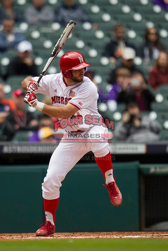 Nebraska Cornhuskers first baseman Scott Schreiber (11) at bat during the NCAA baseball game against the Hawaii Rainbow Warriors on March 7, 2015 at the Houston College Classic held at Minute Maid Park in Houston, Texas. Nebraska defeated Hawaii 4-3. (Andrew Woolley/Four Seam Images)