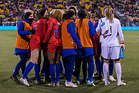 COLUMBUS, OH - NOVEMBER 07: The USWNT huddles during a game between Sweden and USWNT at Mapfre Stadium on November 07, 2019 in Columbus, Ohio.