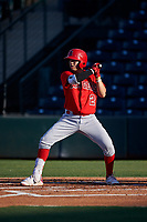 AZL Angels Livan Soto (2) at bat during a rehab assignment in an Arizona League game against the AZL Padres 1 on July 16, 2019 at Tempe Diablo Stadium in Tempe, Arizona. The AZL Padres 1 defeated the AZL Angels 3-1. (Zachary Lucy/Four Seam Images)
