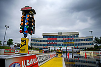May 19, 2017; Topeka, KS, USA; General view of the startling line light system the Christmas tree and the timing suites tower during a rain delay to NHRA qualifying for the Heartland Nationals at Heartland Park Topeka. Mandatory Credit: Mark J. Rebilas-USA TODAY Sports