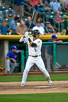 Angel Rosa (6) of the Salt Lake Bees at bat against the Round Rock Express in Pacific Coast League action at Smith's Ballpark on August 13, 2016 in Salt Lake City, Utah. Round Rock defeated Salt Lake 7-3.  (Stephen Smith/Four Seam Images)