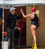 STANFORD, CA - April 20, 2019: Mackenzie Wiley, John Tanner at Avery Aquatic Center. The #1 Stanford Cardinal took down the #20 San Jose State Spartans 22-4.