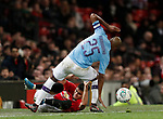 Andreas Pereira of Manchester United  tackled by Fernandinho of Manchester City during the Carabao Cup match at Old Trafford, Manchester. Picture date: 7th January 2020. Picture credit should read: Darren Staples/Sportimage