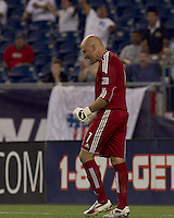 New England Revolution goalkeeper Matt Reis (1) celebrates his save in penalty kicks after game ended tied at 1-1. The New England Revolution defeated Puebla FC in penalty kicks, in SuperLiga 2010 semifinal at Gillette Stadium on August 4, 2010.