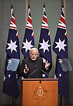 AUSTRALIA, Canberra : Indian Prime Minister Narendra Modi delivers a speech to the Members and Senators of Parliament House, Canberra on November 18, 2014. AFP PHOTO / MARK GRAHAM