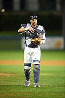 Pitt Panthers catcher Manny Pazos (43) during a game against the Ohio State Buckeyes on February 20, 2016 at Holman Stadium at Historic Dodgertown in Vero Beach, Florida.  Ohio State defeated Pitt 11-8 in thirteen innings.  (Mike Janes/Four Seam Images)
