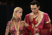 November 19, 2005; Paris, France; Figure skating stars ELENA GRUSHINA and RUSIAN GONCHAROV of Russia win gold in ice dancing at Trophee Eric Bompard, ISU Paris Grand Prix competition.  They are one of the favorites for medals in ice dancing leading up to Torino 2006 Olympics.<br />Mandatory Credit: Tom Theobald/<br />Copyright 2005 Tom Theobald