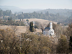 St. Sava Serbian Orthodox Church, built 1894, from the hillside above Jackson, Calif.