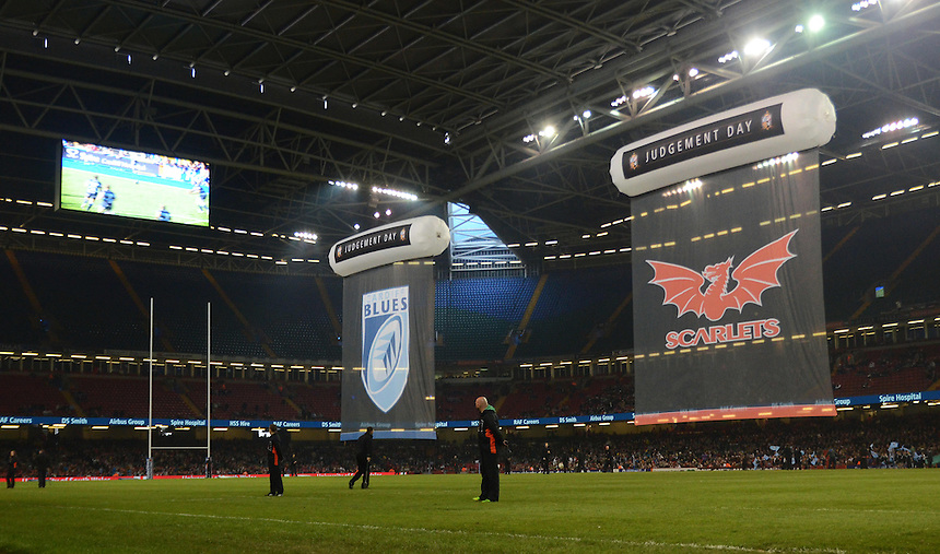 Cardiff Blues and Scarlets banners fly before the teams emerge for the match<br /> <br /> Photo by Kevin Barnes/CameraSport<br /> <br /> Rugby Union - Rabo Direct PRO 12 - Cardiff Blues v Scarlets - Sunday 20th April 2014 - The Millennium Stadium - Cardiff<br /> <br /> &copy; CameraSport - 43 Linden Ave. Countesthorpe. Leicester. England. LE8 5PG - Tel: +44 (0) 116 277 4147 - admin@camerasport.com - www.camerasport.com