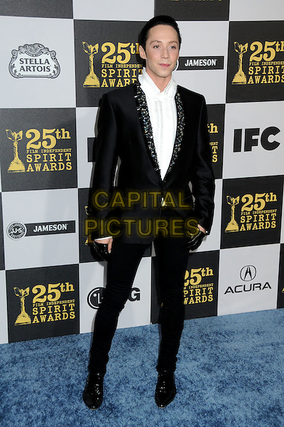 JOHNNY WEIR.25th Annual Film Independent Spirit Awards - Arrivals held at the Nokia Event Deck at L.A. Live, Los Angeles, California, USA..March 5th, 2010.full length black white shirt beaded jewelled embellished lapel gloves .CAP/ADM/BP.©Byron Purvis/AdMedia/Capital Pictures.