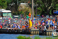 Fans and crew watch from the seawall.   (SST-45 class)