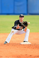Long Island Blackbirds second baseman Evan Emerich #2 during a game against the Dartmouth Big Green at Chain of Lakes Stadium on March 17, 2013 in Winter Haven, Florida.  Dartmouth defeated Long Island 11-4.  (Mike Janes/Four Seam Images)